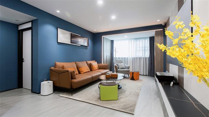 96平现代简约,全屋蓝色调+超开阔厨房,舒适沉稳又高级大气-房网地产头条