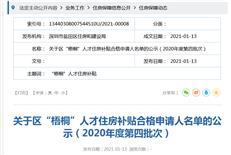 """""""梧桐人才住房补贴合格申请人名单的公示(2020年度第四批次)"""