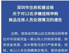 深圳住建局:对华润城润玺12名涉嫌违规申购住房人员进行处理